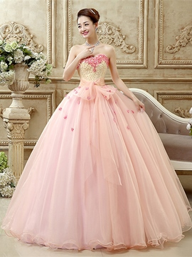 Ericdress Ball Gown Sweetheart Embroidery Pearls Floor-Length Quinceanera Dress