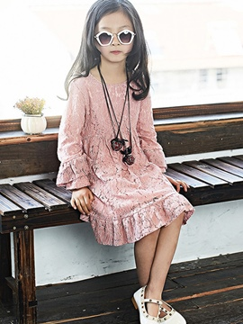 Ericdress Plain Long Sleeve Lace Girls Dress