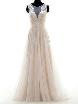 Ericdress Illusion Neckline Lace A Line Wedding Dress