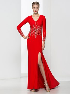 Ericdress V Neck Long Sleeves Split-Front Beaded Evening Dress