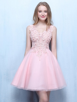 Ericdress V-Neck Appliques Beading Short Prom Dress