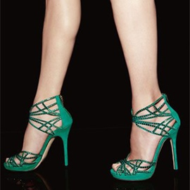 Ericdress Green Suede Cage Stiletto Sandals