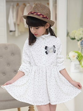 Ericdress Polka Dots Stand Collar Girls Dress