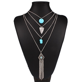 Ericdress Multilayer Tassel Alloy Necklace