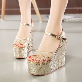 Ericdress Strappy Sequins Wedge Sandals
