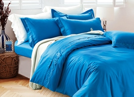 Ericdress Blue Lace Embroidery Cotton Bedding Sets