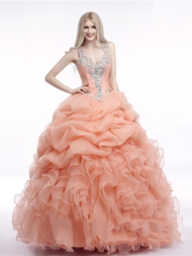 Ericdress Straps Ball Gown Ruffles Beading Floor-Length Quinceanera Dress