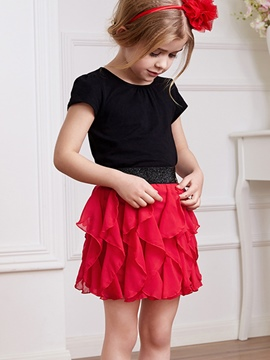 Ericdress Plain Pleated Girls Skirt