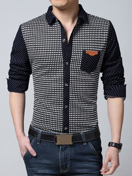 Ericdress Polka Dots Casual Long Sleeve Men's Shirt