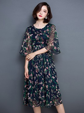 Ericdress Elegant Print Chiffon Casual Dress