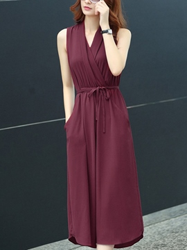 Ericdress Plain Belt Maxi Dress