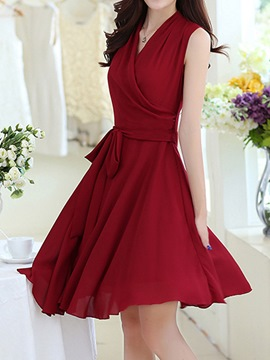 Ericdress Solid Color Chiffon Casual Dress