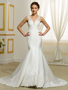 Ericdress Fantastic V Neck Mermaid Backless Wedding Dress