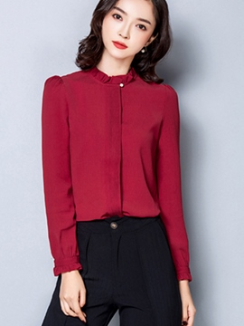 Ericdress Solid Color Casual Chiffon Blouse