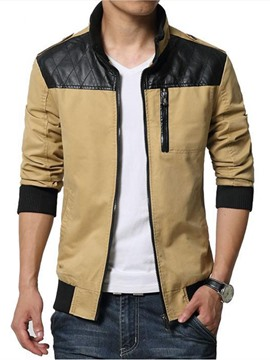 Ericdress Patchwork Zip Stand Collar Casual Men's Jacket