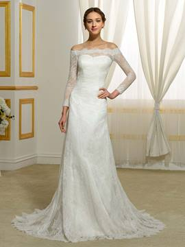 Ericdress Elegant Off The Shoulder Long Sleeves Lace Wedding Dress