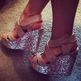Ericdress Glittering Sequin Wedge Sandals