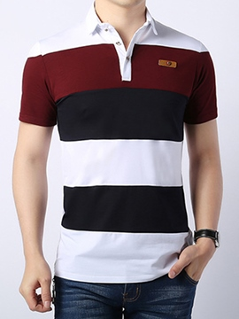 Ericdress Color Block Wide Stripe Casual Men's T-Shirt