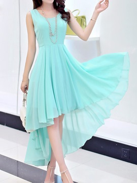 Ericdress Solid Color Swallowtail Casual Dress