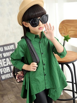 Ericdress Plain Asymmetrical Girls Shirt