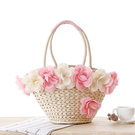 Ericdress Solid Color Eight Flower Decorated Straw Handbag