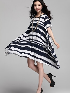 Ericdress Asymmetric Stripe Casual Dress
