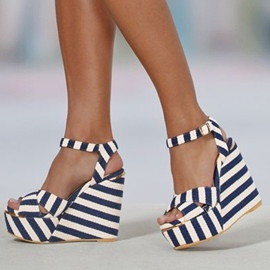 Ericdress Blue Stripes Wedge Sandals