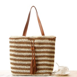 Ericdress Simple Stripe Crochet Straw Handbag