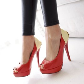 Ericdress Patchwork Peep Toe Stiletto Sandals
