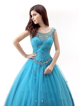 Ericdress Round Neck Ball Gown Beading Ruched Floor-Length Quinceanera Dress