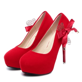 Ericdress Round Toe Bowtie Platform Women's Pumps