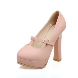 Ericdress T-Shaped Buckle Plain Round Toe Pumps