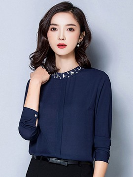 Ericdress Solid Color Bead Blouse