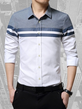 Ericdress Stripe Color Block Slim Men's Shirt