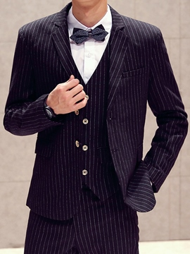 Ericdress Three-Piece of Large Size Stripe Slim Men's Suit