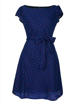Ericdress Sweet Bowknot Polka Dots Casual Dress