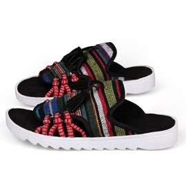 Ericdress Ethnic Striped Open-Toe Slippers