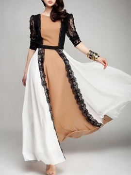 Ericdress Color Block Lace Patchwork Maxi Dress