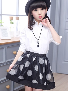 Ericdress Polka Dots Skirt Girls Outfit
