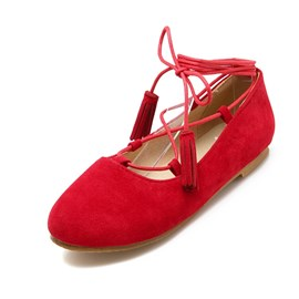 Ericdress Suede Cross Strap Flats