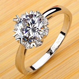 Ericdress Geometric Design Diamond Wedding Ring