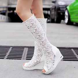 Ericdress Lace Hollow Out Knee High Wedge Sandals