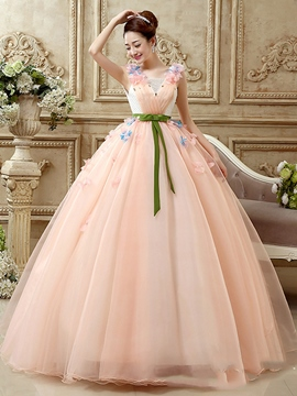 Ericdress Square Neck Ball Gown Embroidery Floor-length Quinceanera Dress
