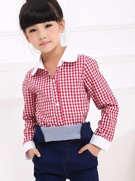Ericdress Plaid Lapel Girls Shirt
