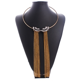 Ericdress Golden Chain Tassel Necklace