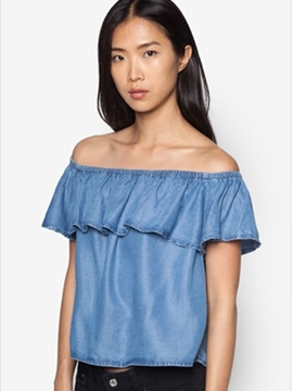 Ericdress Solid Color Off-Shoulder Frill Blouse