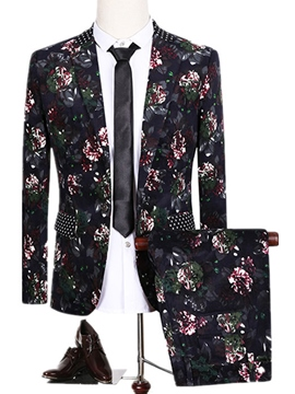 Ericdress Floral Print Vogue Slim Men's Suit