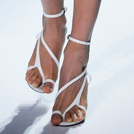 Ericdress Trendy White Clip Toe Sandals