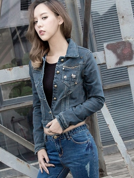 Ericdress Simple Short Style Denim Outerwear
