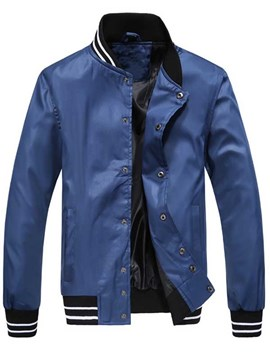Ericdress Stand Collar Stripe Slim Men's Jacket
